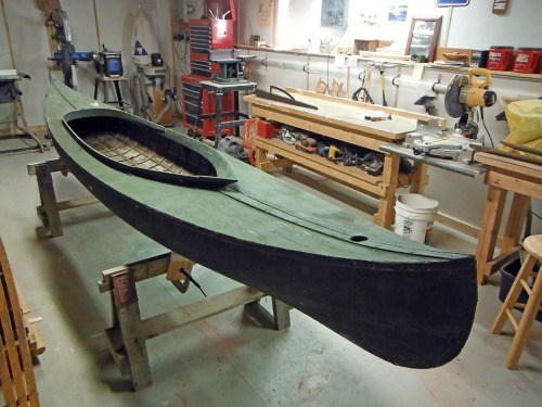 """Pip,"" a late 1880s Ontario Canoe Company Model 200 sailing canoe (under restoration)."