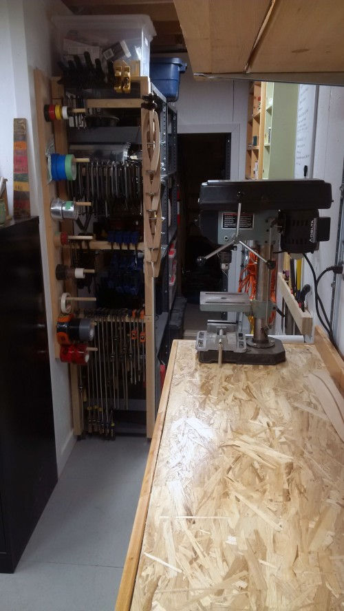 drill press and metal shelves
